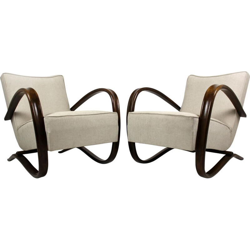 Vintage pair of H-269 armchairs by Jindrich Halabala for UP Závody, 1930s
