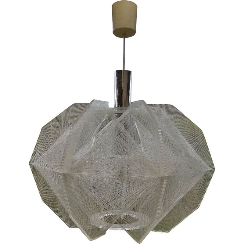 Vintage lucite and nylon suspension lamp by Paul Secon for Sompex, 1960