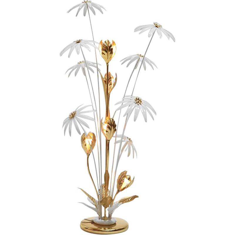 German brass and iron vintage floral floor lamp by Hans Kögl, 1970s