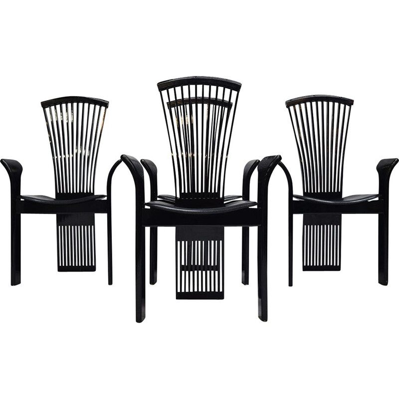 Set of 4 vintage italian black dining chairs by Pietro Costantini, 1980s