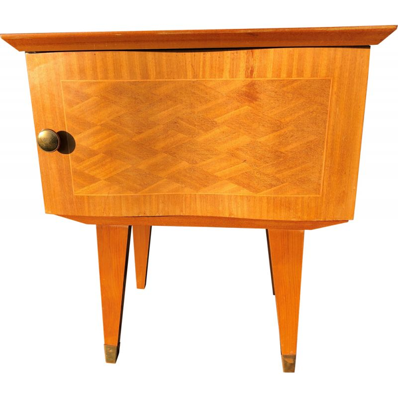 Vintage art deco bedside table in blond wood and marquetry with spindle legs