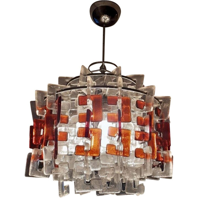 Exceptional vintage chandelier by Carlo Nason by Mazzega, 1960