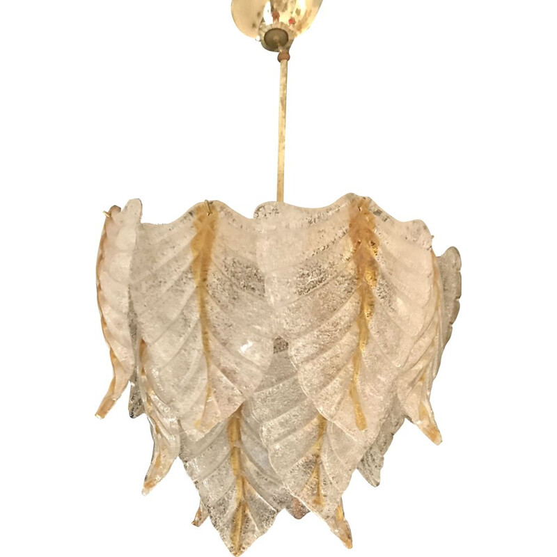 Vintage Mazzega chandelier in white leaf and amber
