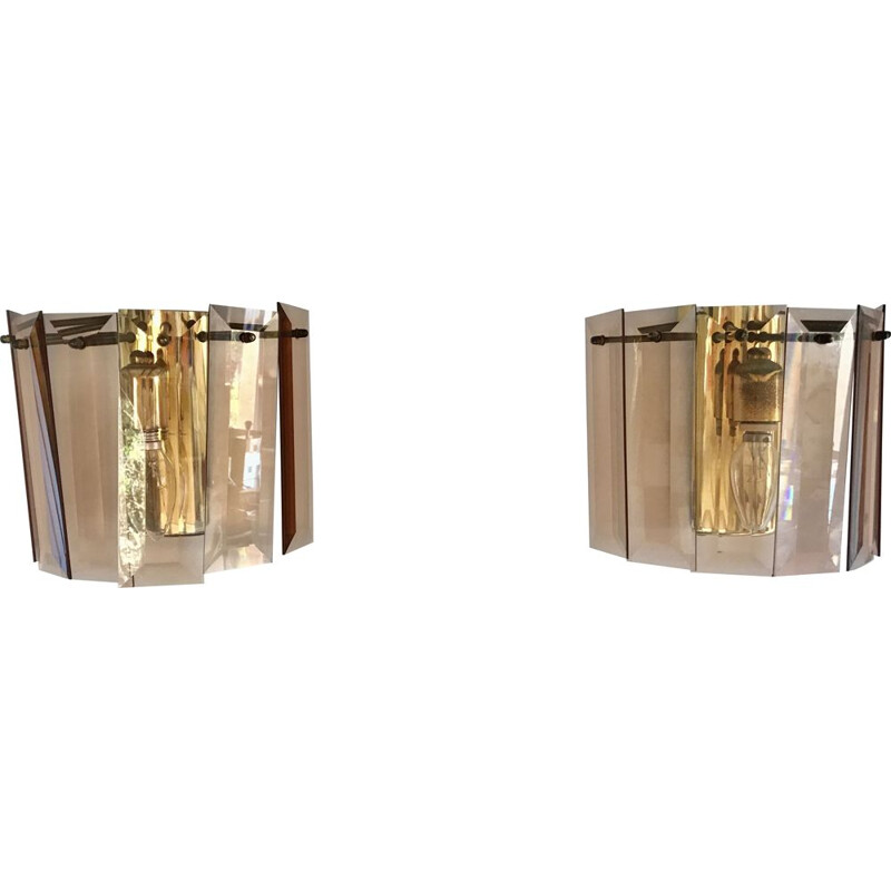 Pair of vintage wall lights in smoked glass by Fontana Arte, 1960s