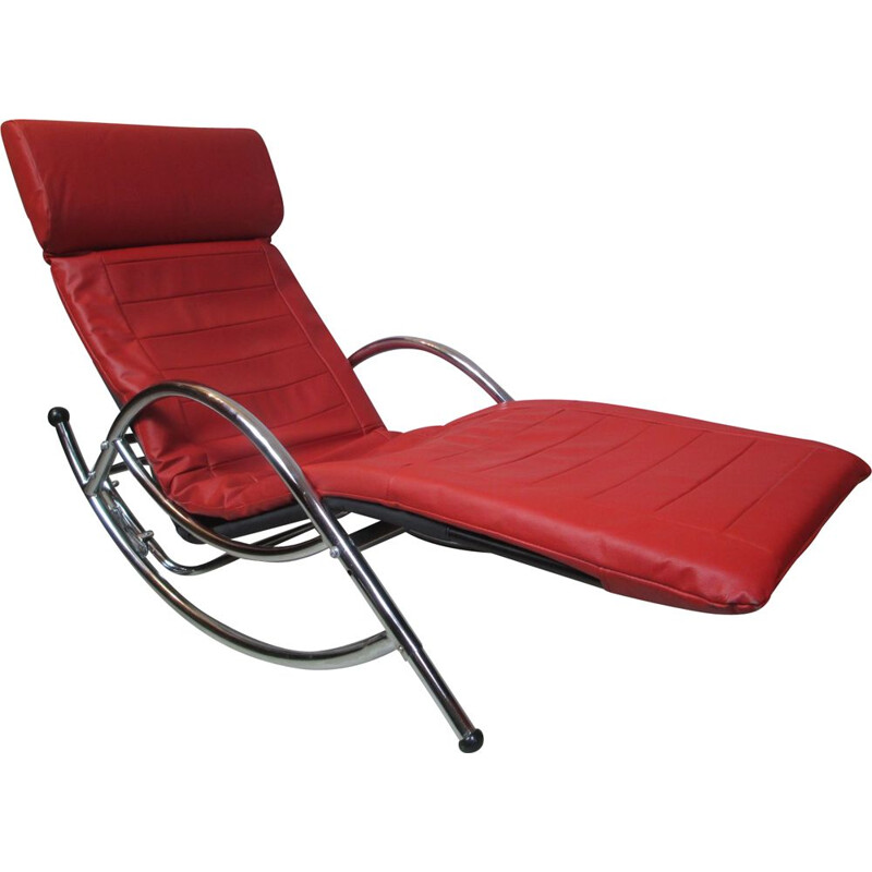 Vintage lounge chair in metal and leather, 1970s