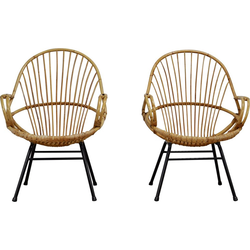 Pair of vintage rattan and metal armchairs by Rohe Noordwolde, 1960s