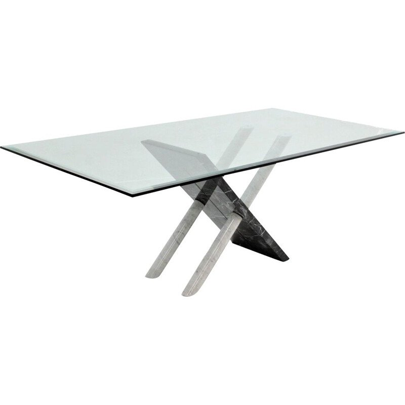 Vintage Carrara marble dining table, Italy, 1970s