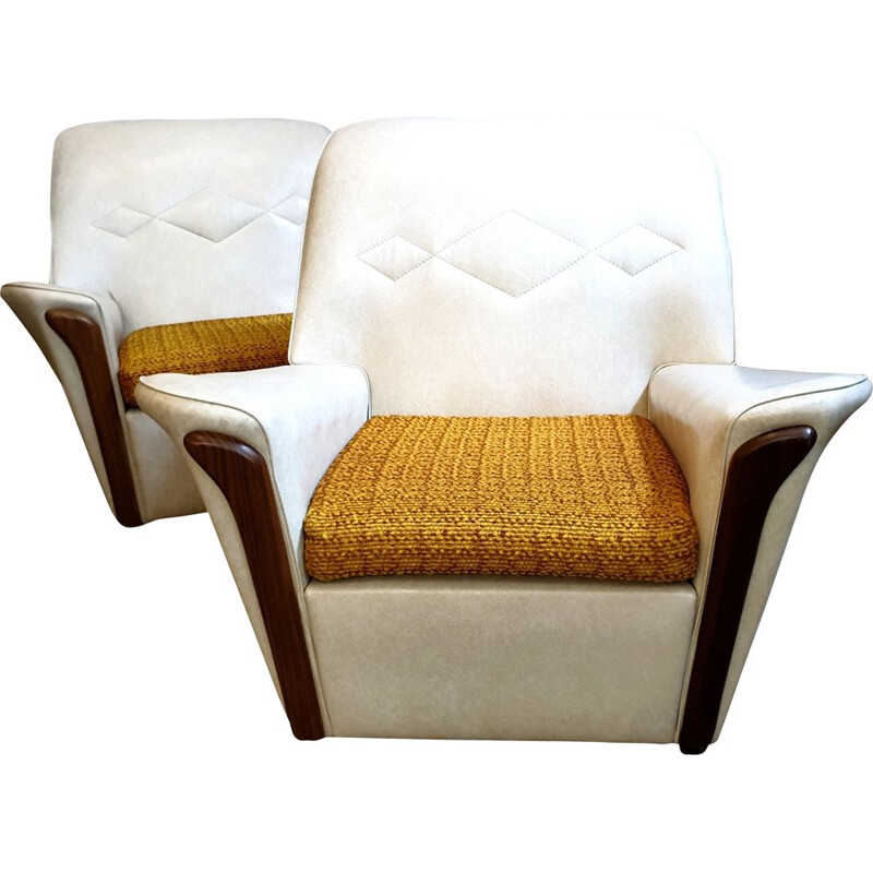 Pair of Vintage cream vinyl armchairs, Britain