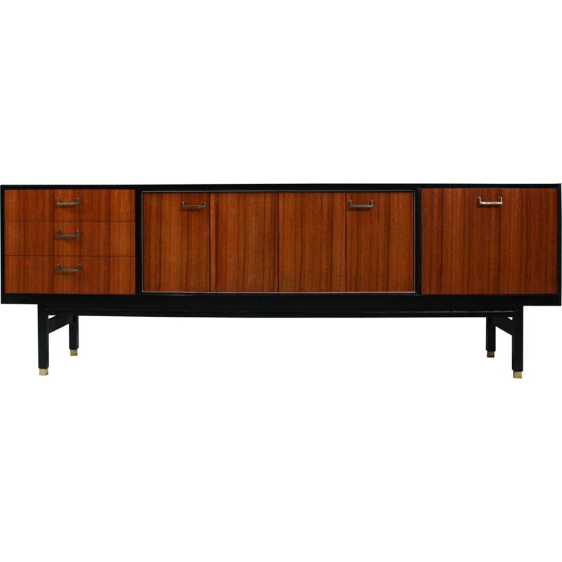 Vintage wooden and brass sideboard from G-Plan, 1960s