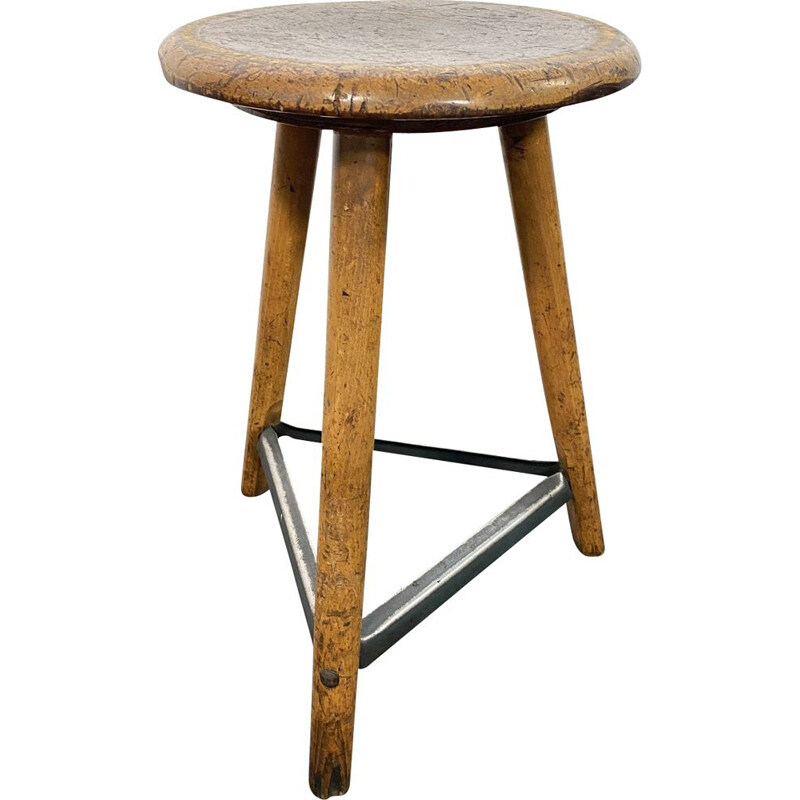 Vintage tripod Workshop Stool by AMA, 1930s