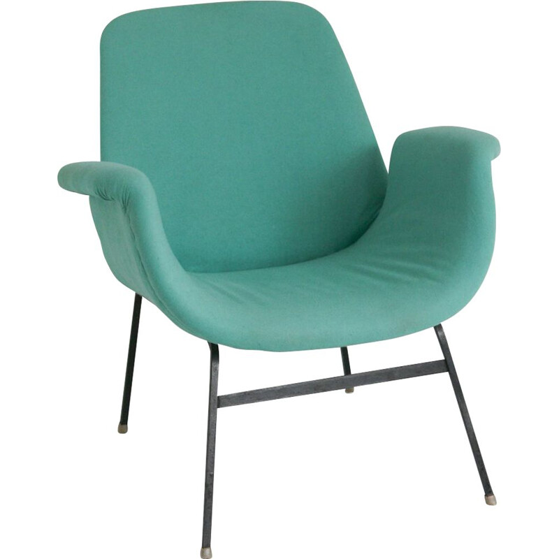 Vintage turquoise armchair, 1950s
