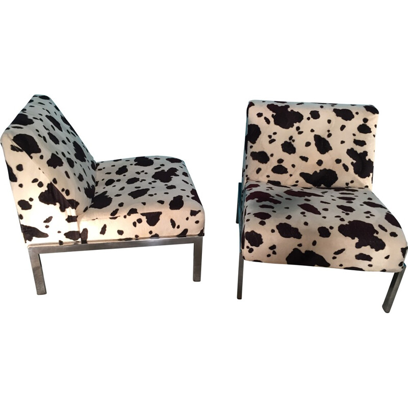 Pair of low chairs in cowhide patterned fabric - 1970s