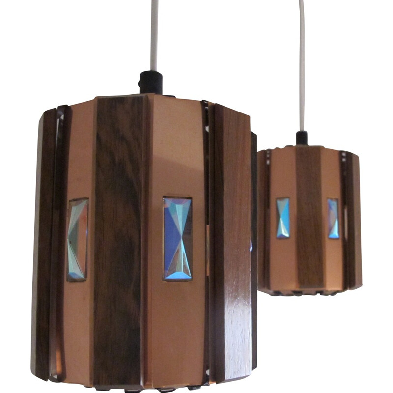Pair of hanging lamps in copper and rosewood, Werner SCHOU - 1960s