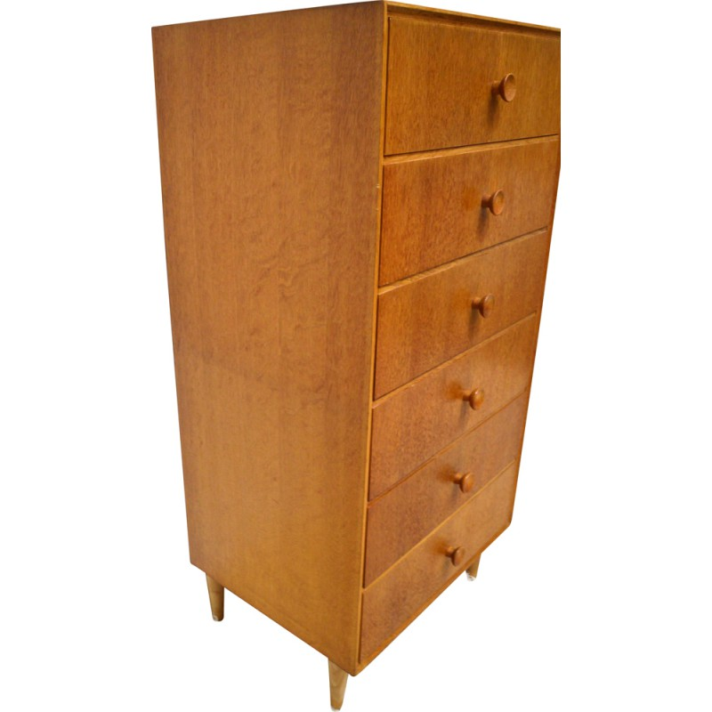 Meredew Tall Chest Of Drawers In Oak With 6 1950s