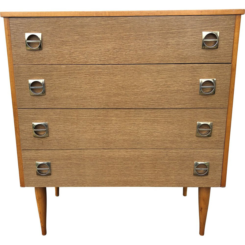 Vintage wood and brass chest of drawers, 1960-70s