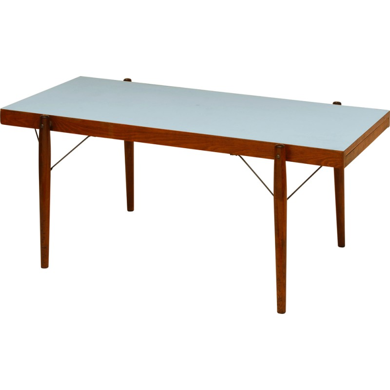 Blue Rectangular Coffee Table In Formica With Pull Out Leaves