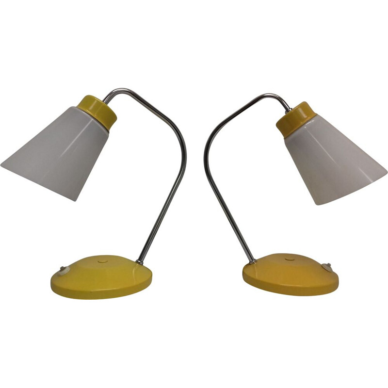 Set of 2 vintage table lamps in metal ang glass from Lidokov Boskovice, Czechoslovakia, 1960s