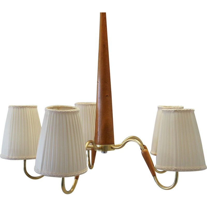 Vintage chandelier in teak and metal, 1960-70s