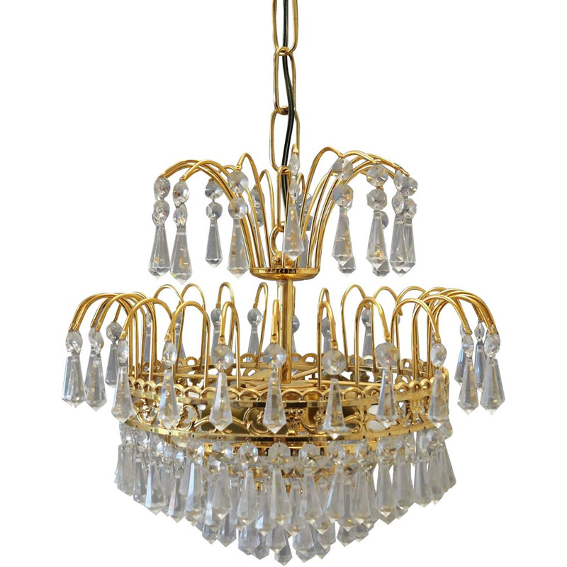 Vintage metal and glass chandelier, 1960-70s