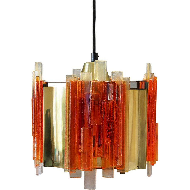 Vintage chandelier in glass and metal, 1960-70s