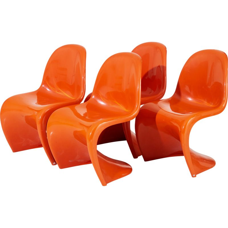 Suite of 4 vintage S chairs by Verner Panton for Herman Miller, 1970s