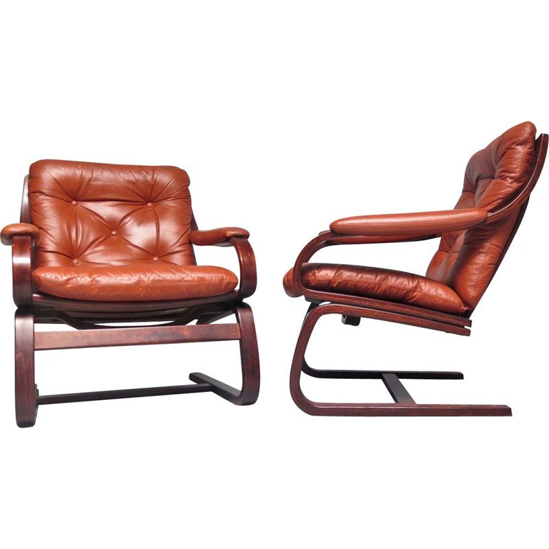 Scandinavian vintage cognac leather armchair, 1970s