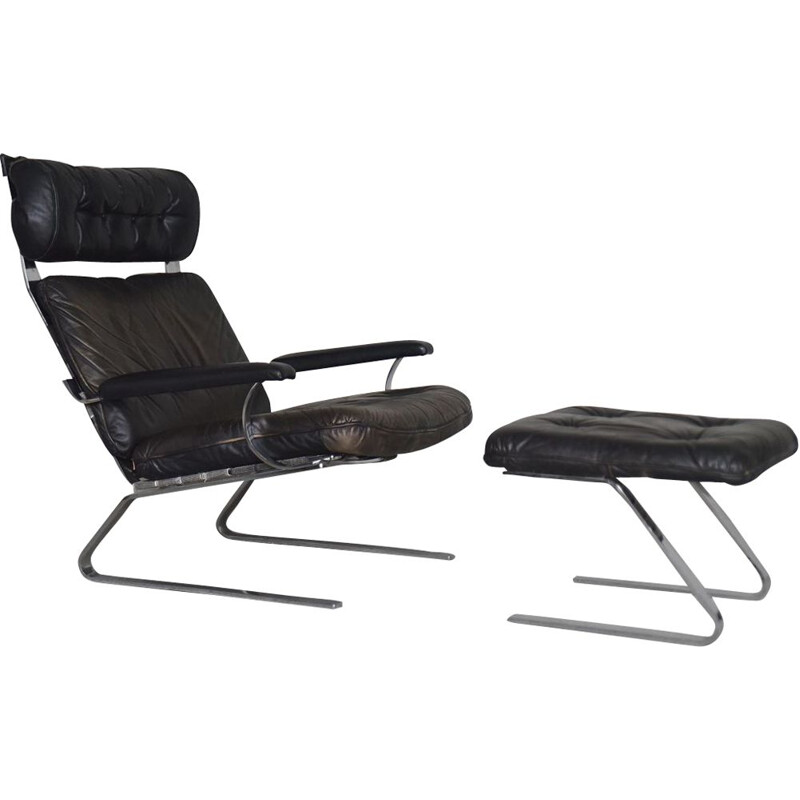Vintage Brutalist German Leather Lounge Chair & Ottoman on Metal Runners, 1960s