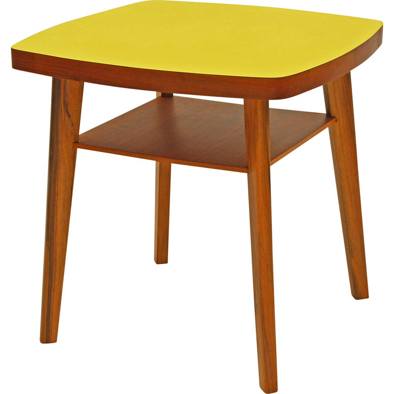 Square yellow coffee table in formica with shelf - 1960s