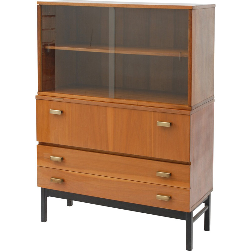Interiér Praha large bookcase in walnut and glass - 1960s