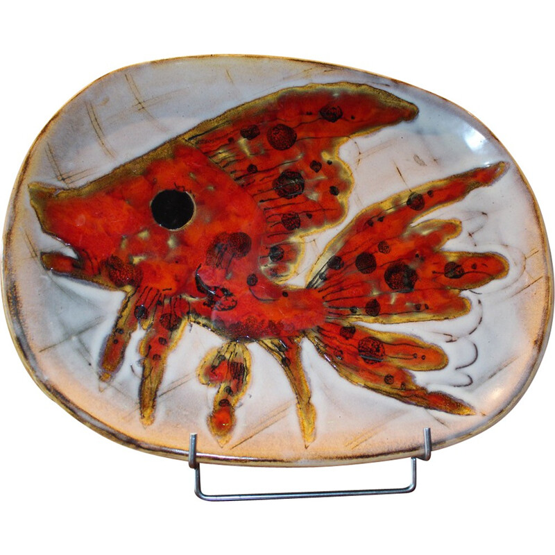 Vallauris plate in red ceramic - 1970s