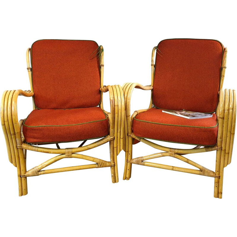 Pair of Vintage Cane red armchairs 1950