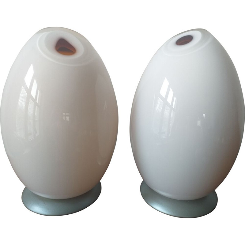 Pair of Table Lamps in Murano Glass by Mazzega, 1980s