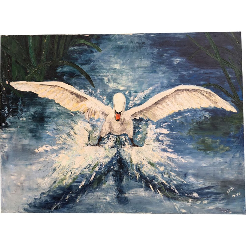 "Vintage painting the ""Flight of the Swan"" 1969"