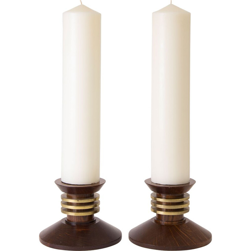 Pair of vintage candlesticks by Louis Proudhon, 1930s