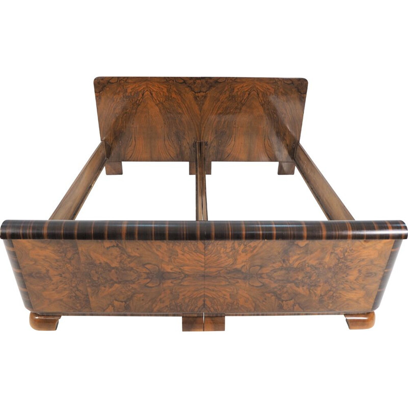 Vintage Art deco bed in walnut, 1940s