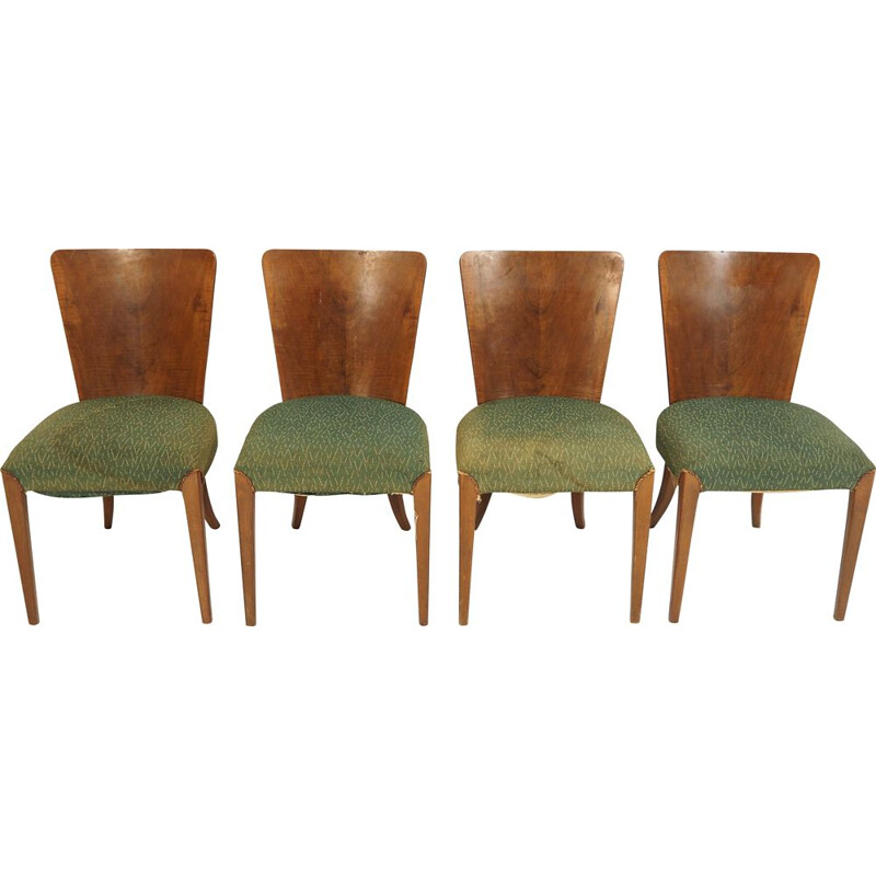 Set of 4 vintage Art Deco dining chairs by Jindřich Halabala for Thonet