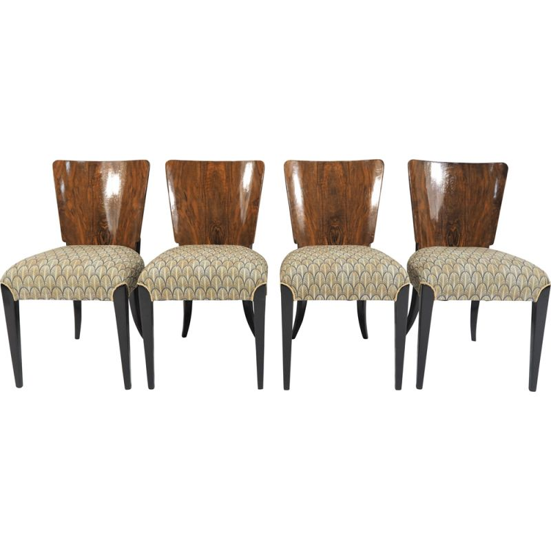 Set of 4 vintage Art Deco Dining Chairs by Jindřich Halabala
