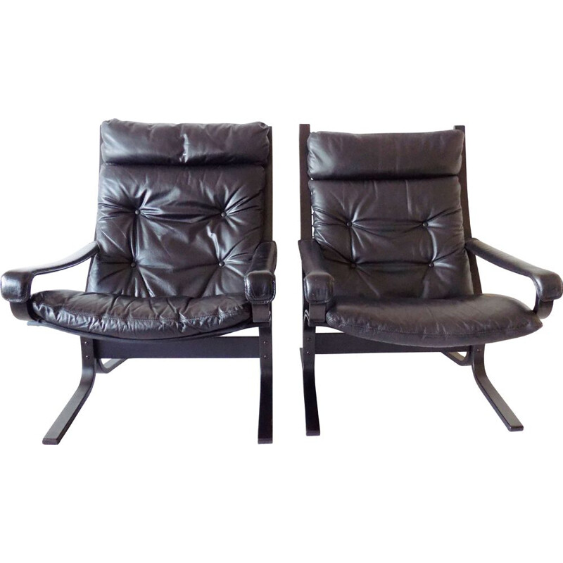 Vintage Westnofa Siesta set of 2 black leather armchairs by Ingmar Relling