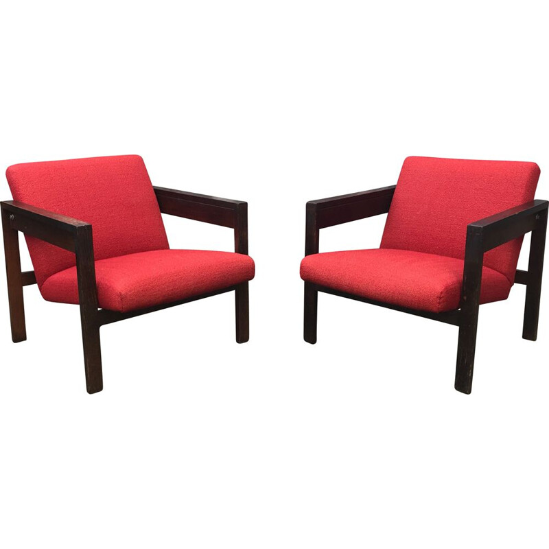 Vintage pair of SZ25 armchair by Hein Stolle for t' Spectrum 1950s