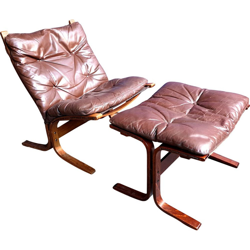Vintage Siesta Lounge Chair and Stool by Ingmar Relling for Westnofa, 1970s