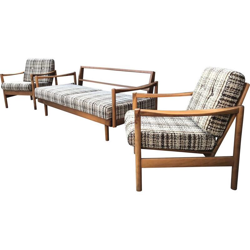 Vintage living room set with Extendable beech daybed and Stella armchairs by Wilhelm Knoll for Knoll Antimott, 1950s,
