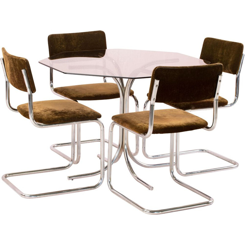 Vintage Chrome Table and 4 Chairs Set