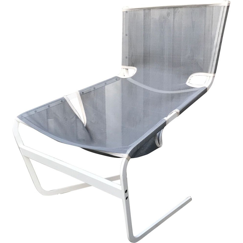 Vintage F444 Steel and Canvas Armchair by Pierre Paulin for Artifort, 1980