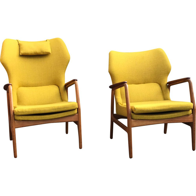 Set of 3 vintage Karen easy chair by Aksel Bender Madsen for Bovenkamp, 1950s, with matching Haslev coffee table