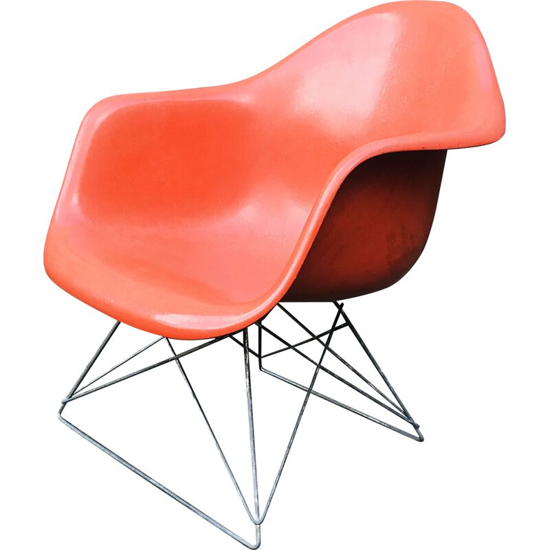 Vintage LAR Fibreglass Chair by Charles & Ray Eames in orange fibreglass. 1970