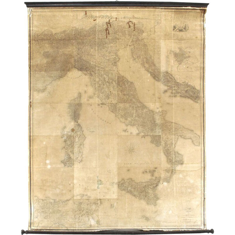 "Vintage print of the ""Gran Carta d'Italia"" by Stabilimento Giuseppe Civelli"