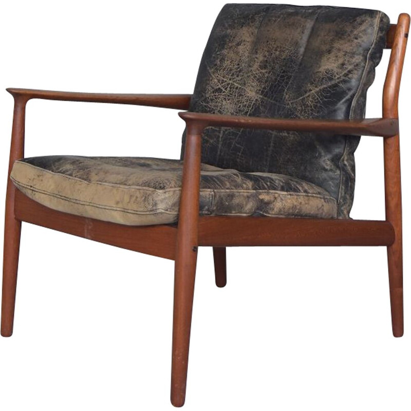 Vintage leather and teak chair Model 218 by Grete Jalk for Glostrup, 1950s