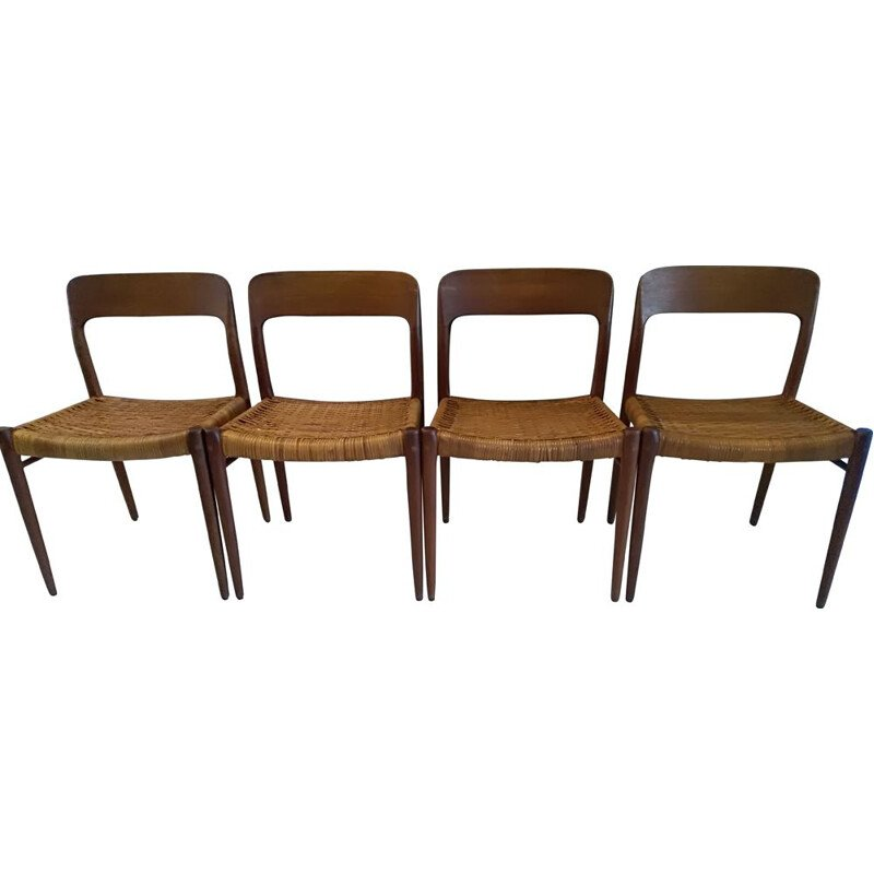 Suite of 4 vintage chairs by Niels Otto Moller, 1960s