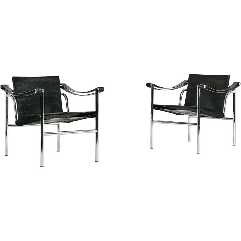 Pair of vintage armchairs Lc1, Le Corbusier for Cassina. C.1960