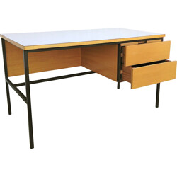 "Minvielle ""620"" French desk in ashwood, Pierre GUARICHE - 1950s"